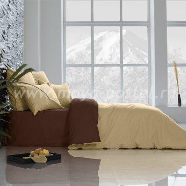 Постельное белье Цвет: Солнечный Абрикос + Темный Шоколад (1,5 спальное) в интернет-магазине Моя постель