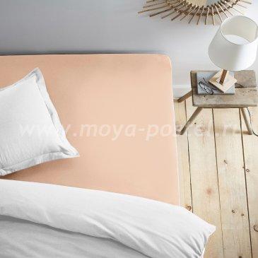 Простыня на резинке персиковая (180х200) в интернет-магазине Моя постель