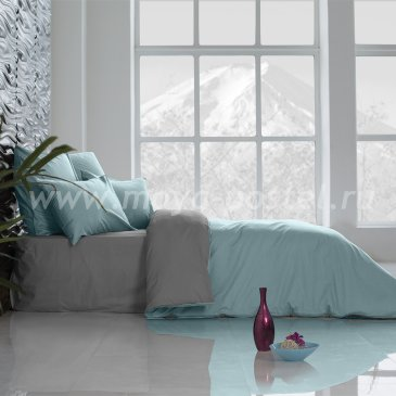 Постельное белье Perfection Цвет: Небесно Голубой + Темно-Серый (2 спальное) в интернет-магазине Моя постель