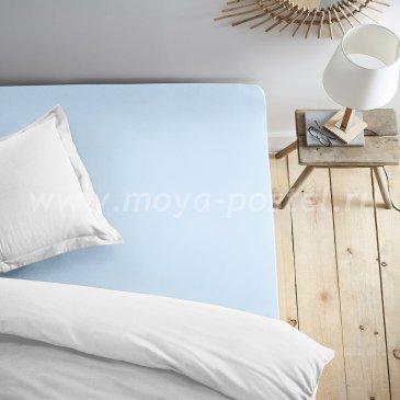 Простыня на резинке, голубая (180х200) в интернет-магазине Моя постель