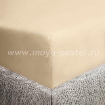 Простыня на резинке бежевая сатиновая (90х200) в интернет-магазине Моя постель