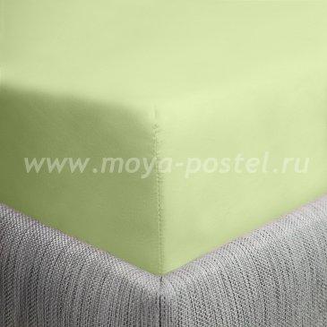 Простыня на резинке салатовая (140х200), сатин в интернет-магазине Моя постель