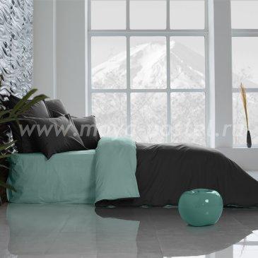 Постельное белье Perfection: Уголь + Перечная Мята (евро) в интернет-магазине Моя постель
