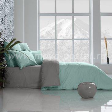 Постельное белье Perfection: Перечная Мята + Темно-Серый (евро) в интернет-магазине Моя постель