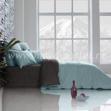 Постельное белье Perfection: Небесно Голубой + Уголь (евро) в интернет-магазине Моя постель