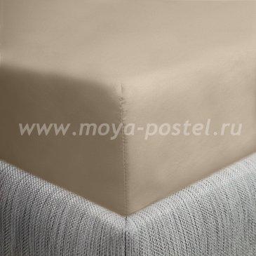 Простыня на резинке бежевый темный (90х200), сатин в интернет-магазине Моя постель