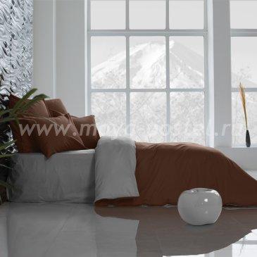 Постельное белье Perfection: Темный Шоколад + Темно-Серый (евро) в интернет-магазине Моя постель