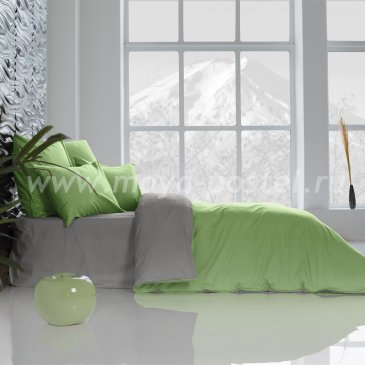 Постельное белье Perfection: Темно-Серый + Лайм Благородный (евро) в интернет-магазине Моя постель