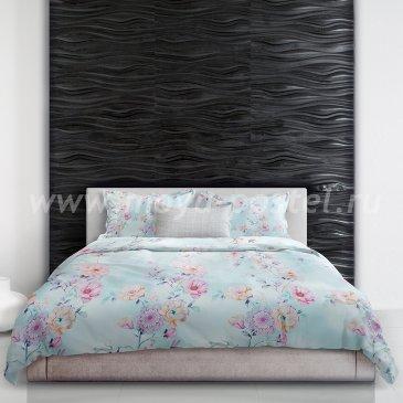 Постельное белье «Hokusai» (Хокусай), голубое, евро макси в интернет-магазине Моя постель
