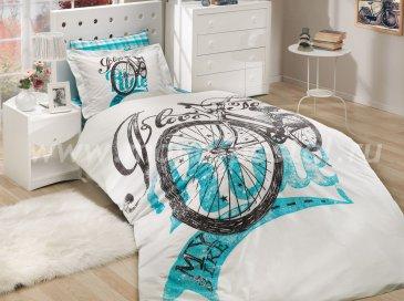 Постельное белье «TRELLA» бирюзовое, полуторное, поплин в интернет-магазине Моя постель