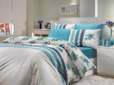 Полуторное постельное белье «CAMILA», голубое, ранфорс в интернет-магазине Моя постель