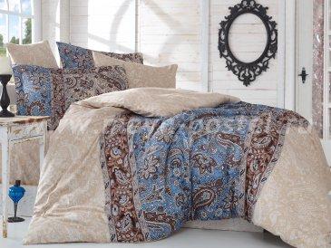 Постельное белье «CATERINA» бежевое с синим, сатин, семейное в интернет-магазине Моя постель
