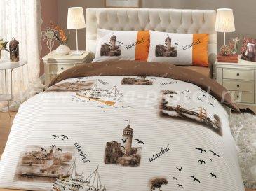 Коричневое постельное белье «ISTANBUL» с изображениями города Стамбула, ранфорс, полутороспальное в интернет-магазине Моя постель