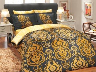 Черное постельное белье «MONART» с золотым орнаментом, сатин, евро размер в интернет-магазине Моя постель