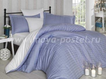 Бело-синее постельное белье евро размера «EKOSE», сатин-жаккард в интернет-магазине Моя постель
