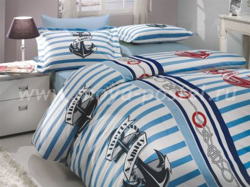 Синее постельное белье «BERMUDA» двуспальное, поплин в интернет-магазине Моя постель