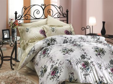 Бежевое постельное белье евро размера «CARMEN», поплин в интернет-магазине Моя постель
