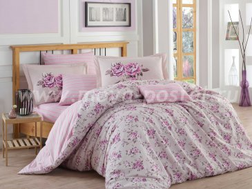 Лиловое постельное белье из поплина «FLORA», евро размер в интернет-магазине Моя постель