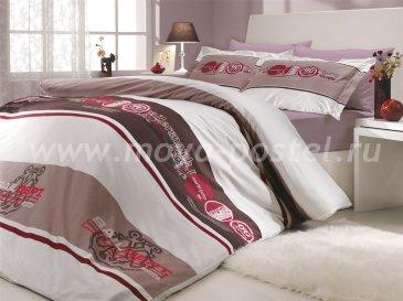 Семейный комплект постельного белья «ROTA», поплин, бордовый в интернет-магазине Моя постель