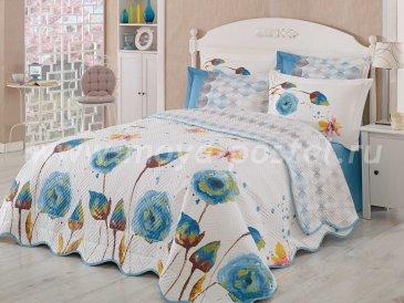 Постельное белье с голубыми цветами «VERONIKA», евро размер, поплин в интернет-магазине Моя постель