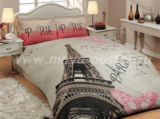 Бежевое постельное белье из поплина «PARIS» с Эйфелевой башней, двуспальное в интернет-магазине Моя постель