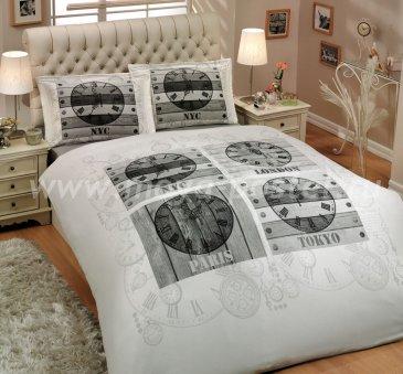 Белое постельное белье «WORLD CLOCK» с монохромным принтом, поплин, двуспальное в интернет-магазине Моя постель