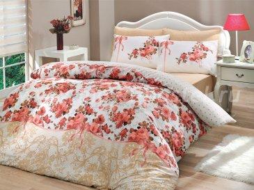 Бежевое двуспальное постельное белье «FELICITA», ранфорс в интернет-магазине Моя постель
