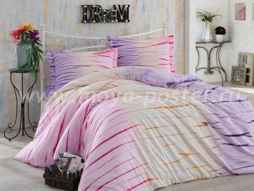 Постельное белье из поплина «BATIK KIRIK», лиловое с полосками, семейное в интернет-магазине Моя постель