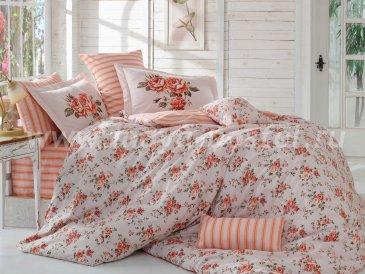 Персиковое постельное белье из поплина «FLORA», евро размер в интернет-магазине Моя постель