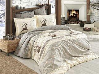 Постельное белье из поплина «LUDOVICA» бежевое с рождественским принтом, евро размер в интернет-магазине Моя постель