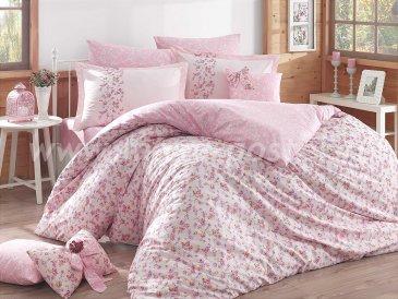Розовое постельное белье с цветочным узором «LUISA» из поплина с кружевом, евро размер в интернет-магазине Моя постель