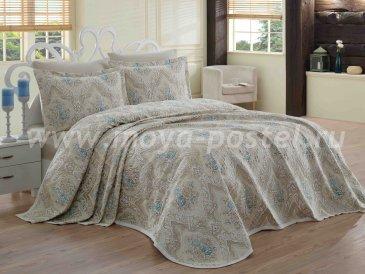 Евро комплект из покрывала и наволочек «KERIS» бежевый с вышитыми бирюзовыми цветами - интернет-магазин Моя постель