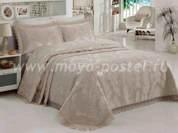 Однотонный бежевый набор из покрывала и наволочек «EVITA» с вышивкой и кружевом, евро - интернет-магазин Моя постель