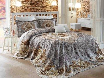 Евро комплект из покрывала и наволочек «ODELIS» с классическим кружевным орнаментом из цветов, серый с бежевым - интернет-магазин Моя постель