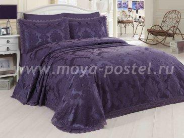 Однотонный набор сливового цвета из покрывала и наволочек «EVITA» с вышивкой и кружевом, евро - интернет-магазин Моя постель