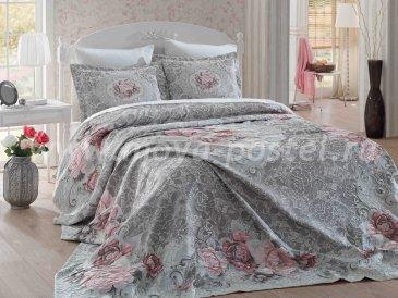 Евро комплект из покрывала и наволочек «ODELIS» с классическим кружевным орнаментом из цветов, серый с розовым - интернет-магазин Моя постель