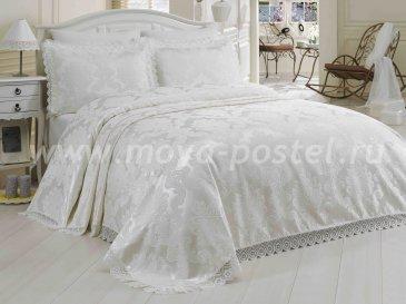 Однотонный кремовый набор из покрывала и наволочек «EVITA» с вышивкой и кружевом, евро - интернет-магазин Моя постель