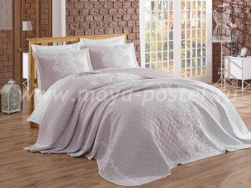 Двухцветный евро комплект из покрывала и наволочек с цветочной вышивкой «LONDIS», лиловый с белым - интернет-магазин Моя постель