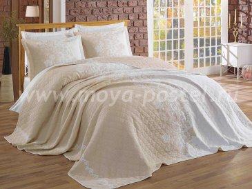 Двухцветный евро комплект из покрывала и наволочек с цветочной вышивкой «LONDIS», бежевый с белым - интернет-магазин Моя постель