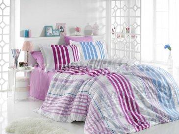 Фиолетовое постельное белье в клетку «STRIPE» из поплина, евро размер в интернет-магазине Моя постель