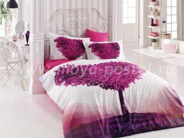 Постельное белье «PARADISE» с фиолетовым 3D принтом, поплин, евро в интернет-магазине Моя постель