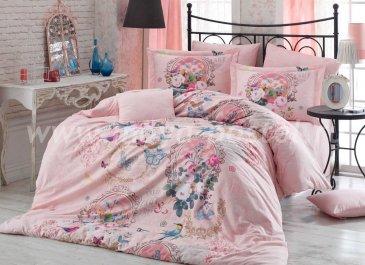 Персиковое постельное белье евро размера «SEREFINA» с 3D принтом, поплин в интернет-магазине Моя постель