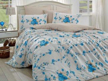 Постельное белье «GLORIA» с бирюзовыми цветами, евро, ранфорс в интернет-магазине Моя постель