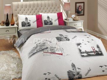 Постельное белье евро размера «ISTANBUL» с принтами Стамбула, серое, ранфорс в интернет-магазине Моя постель