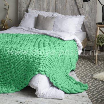 Плед Hygge из шерсти мериноса цвета Перечная Мята (120х170 см) в каталоге интернет-магазина Моя постель