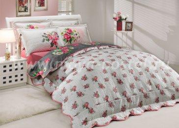 Розово-серое постельное белье с двусторонним стеганым покрывалом «PARIS SPRING-CALVINA», двуспальное в интернет-магазине Моя постель