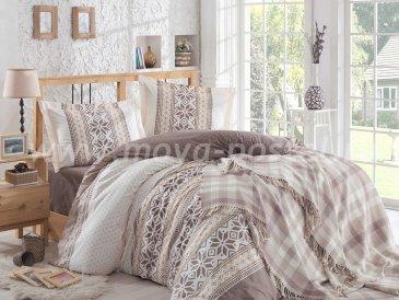 Евро постельное белье с покрывалом «CARLA», поплин, коричневое в интернет-магазине Моя постель