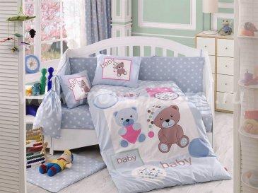 Голубое постельное белье «PONPON» из поплина, детское в интернет-магазине Моя постель