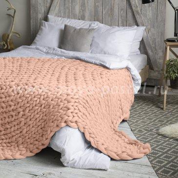 Плед Hygge из шерсти мериноса цвета Пудра (140х200 см) в каталоге интернет-магазина Моя постель