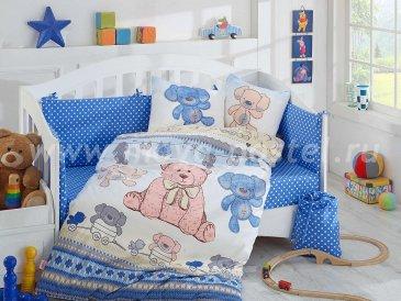 Постельное белье из поплина с покрывалом «TOMBIK» детское, голубое в интернет-магазине Моя постель